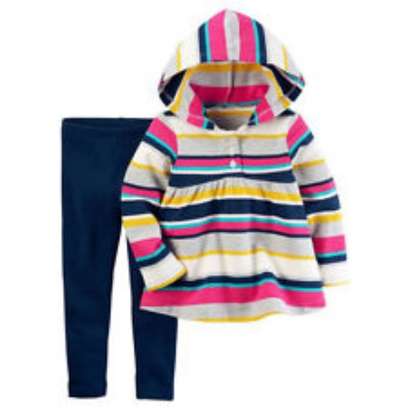db517beab6be12 Carter's Matching Sets | 2pc Striped Hoodie Leggings Set Baby Girl ...